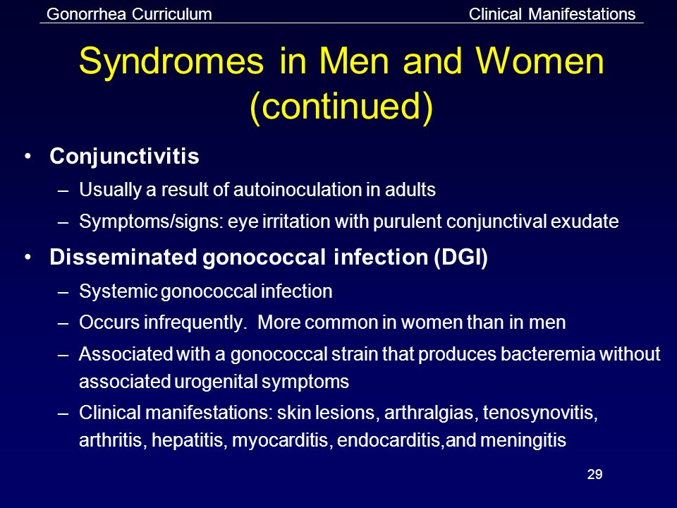 Gonorrhea Curriculum 29 Syndromes in Men and Women (continued) Conjunctivitis –Usually a result of autoinoculation in adults –Symptoms/signs: eye irritation with purulent conjunctival exudate Disseminated gonococcal infection (DGI) –Systemic gonococcal infection –Occurs infrequently.