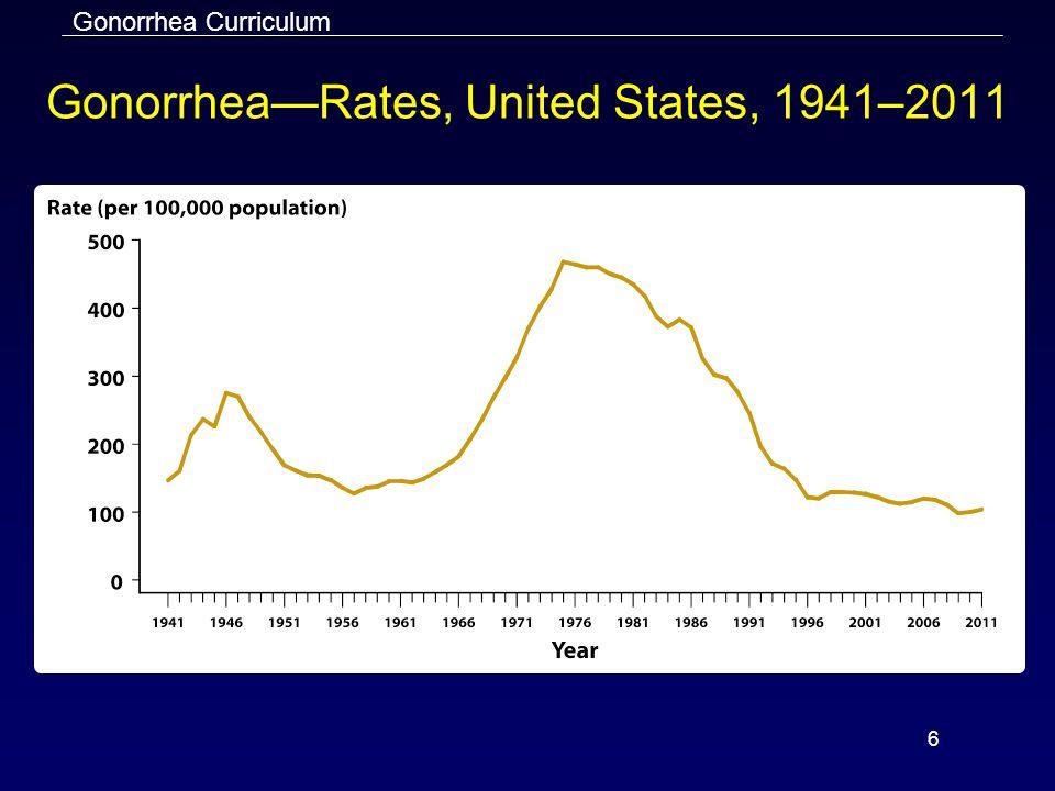 Gonorrhea Curriculum 6 Gonorrhea—Rates, United States, 1941–2011