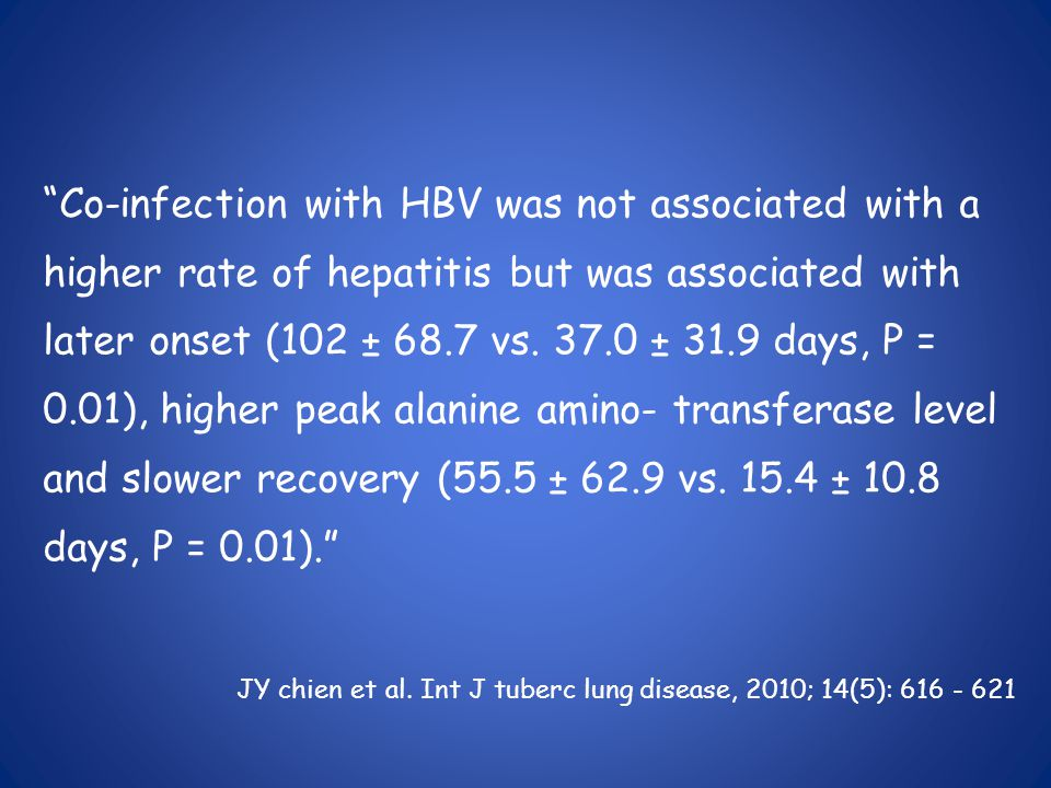 Co-infection with HBV was not associated with a higher rate of hepatitis but was associated with later onset (102 ± 68.7 vs.