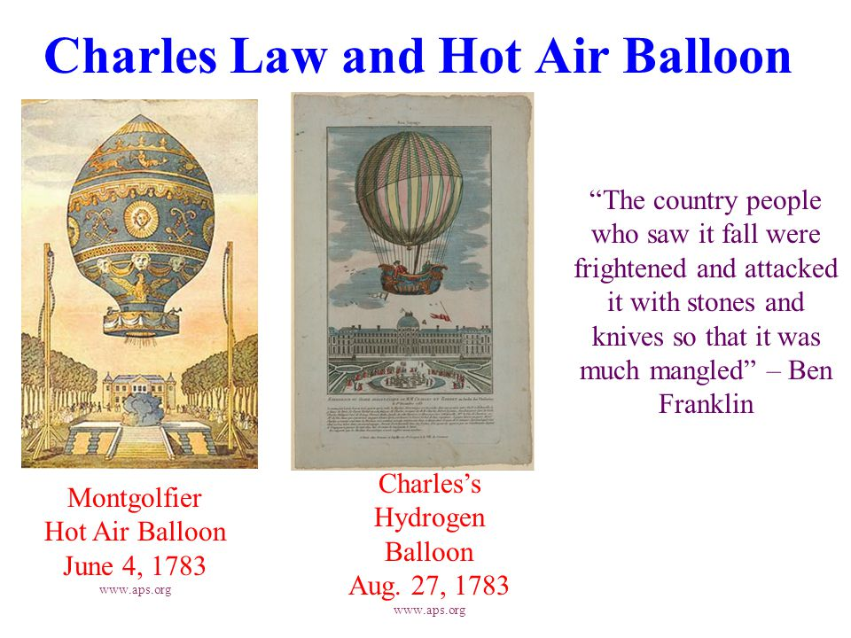 Charles Law and Hot Air Balloon Montgolfier Hot Air Balloon June 4, 1783 www.aps.org Charles's Hydrogen Balloon Aug.
