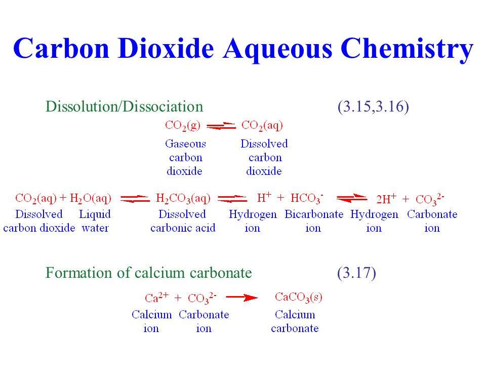 Carbon Dioxide Aqueous Chemistry Dissolution/Dissociation(3.15,3.16) Formation of calcium carbonate(3.17)