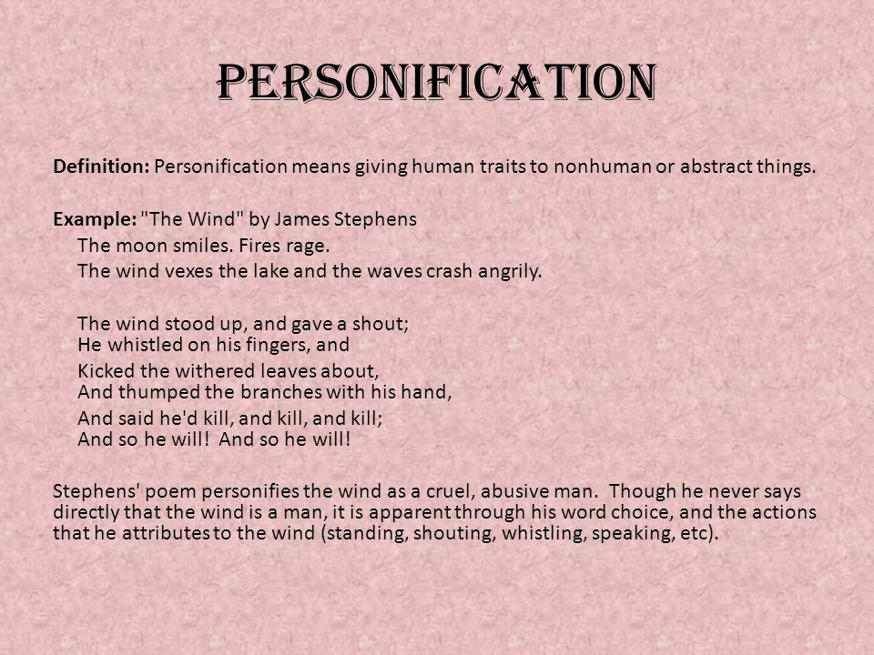 Personification tasks Write an 8-line Personification Poem about an object in your book bag.