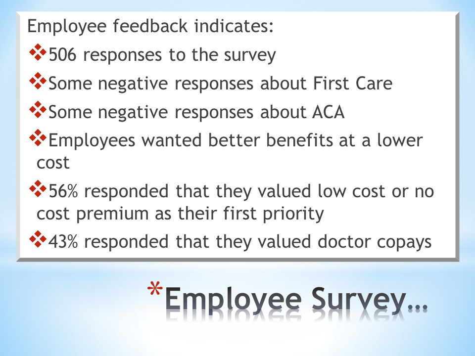 Employee feedback indicates:  506 responses to the survey  Some negative responses about First Care  Some negative responses about ACA  Employees wanted better benefits at a lower cost  56% responded that they valued low cost or no cost premium as their first priority  43% responded that they valued doctor copays