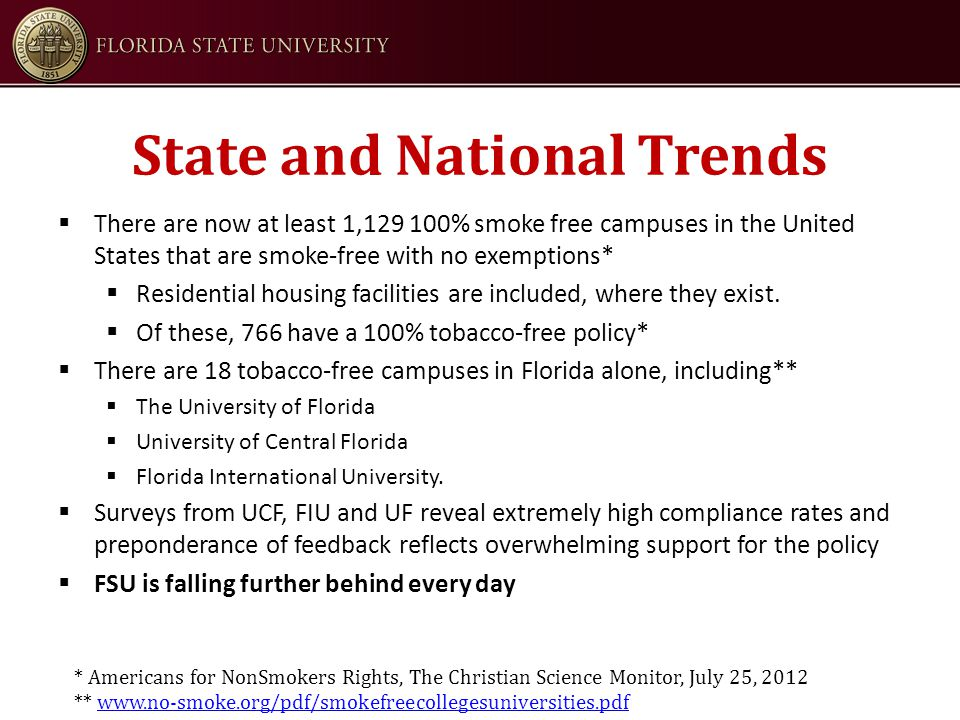 State and National Trends  There are now at least 1,129 100% smoke free campuses in the United States that are smoke-free with no exemptions*  Residential housing facilities are included, where they exist.