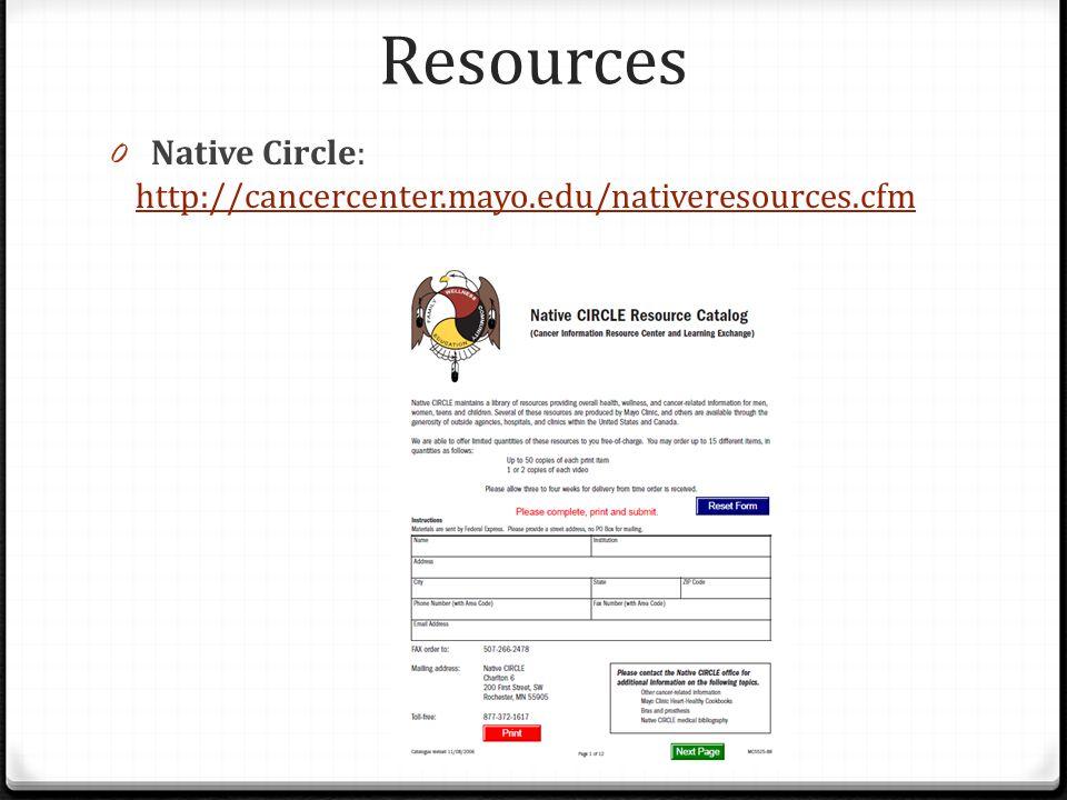 Resources 0 Native Circle: http://cancercenter.mayo.edu/nativeresources.cfm http://cancercenter.mayo.edu/nativeresources.cfm