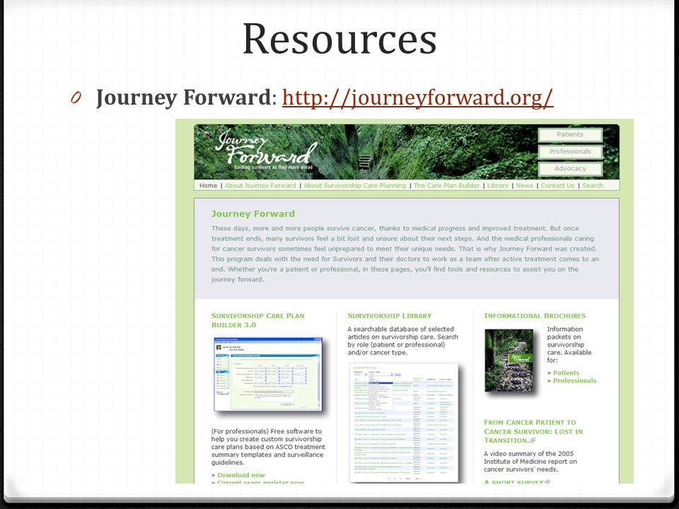Resources 0 Journey Forward: http://journeyforward.org/http://journeyforward.org/