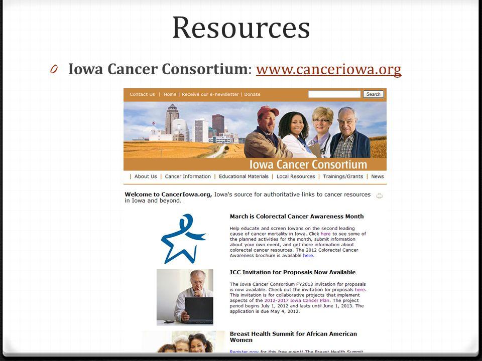 Resources 0 Iowa Cancer Consortium: www.canceriowa.orgwww.canceriowa.org