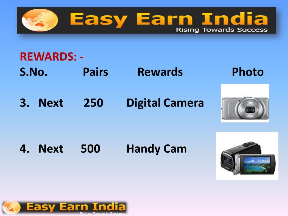 REWARDS: - S. No. Pairs Rewards Photo 1. 50 Mobile Phone 2. Next 100 Smart Phone