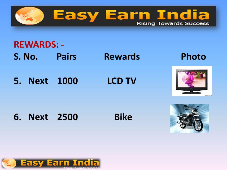 REWARDS: - S.No. Pairs Rewards Photo 3. Next 250 Digital Camera 4. Next 500 Handy Cam