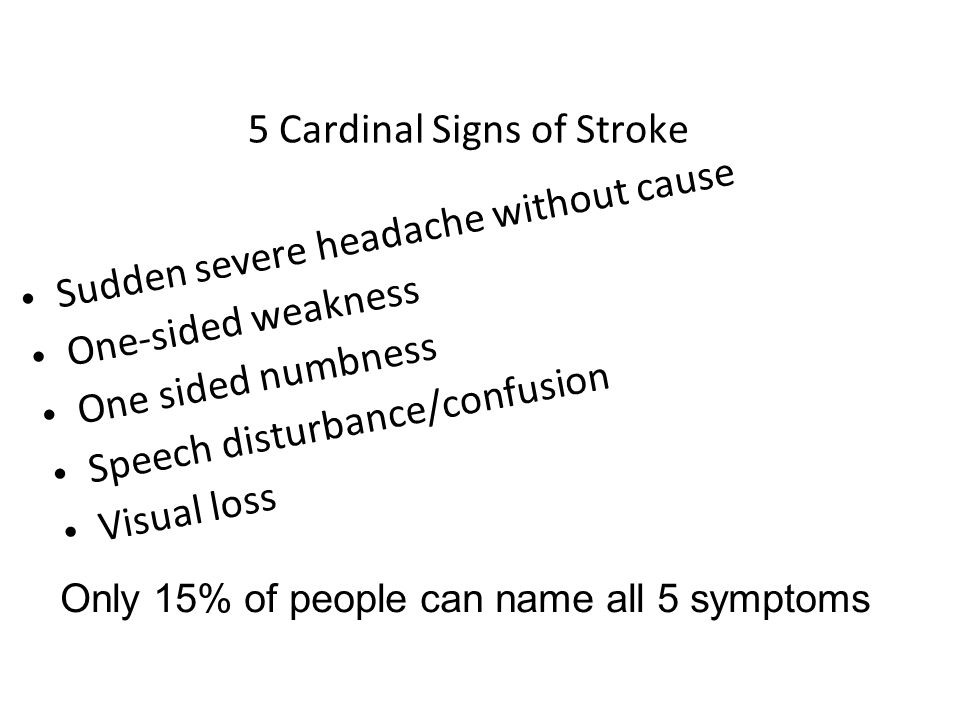 5 Cardinal Signs of Stroke Sudden severe headache without cause One-sided weakness One sided numbness Speech disturbance/confusion Visual loss Only 15% of people can name all 5 symptoms