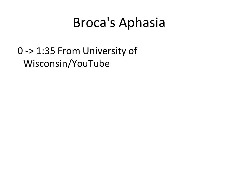 Broca s Aphasia 0 -> 1:35 From University of Wisconsin/YouTube