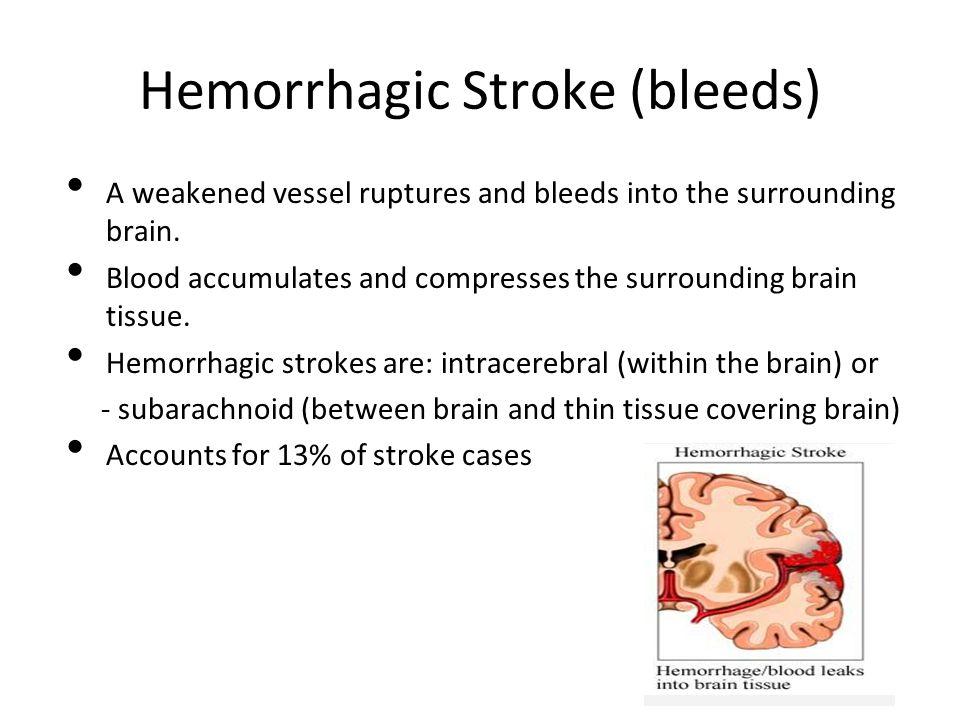 Hemorrhagic Stroke (bleeds) A weakened vessel ruptures and bleeds into the surrounding brain.