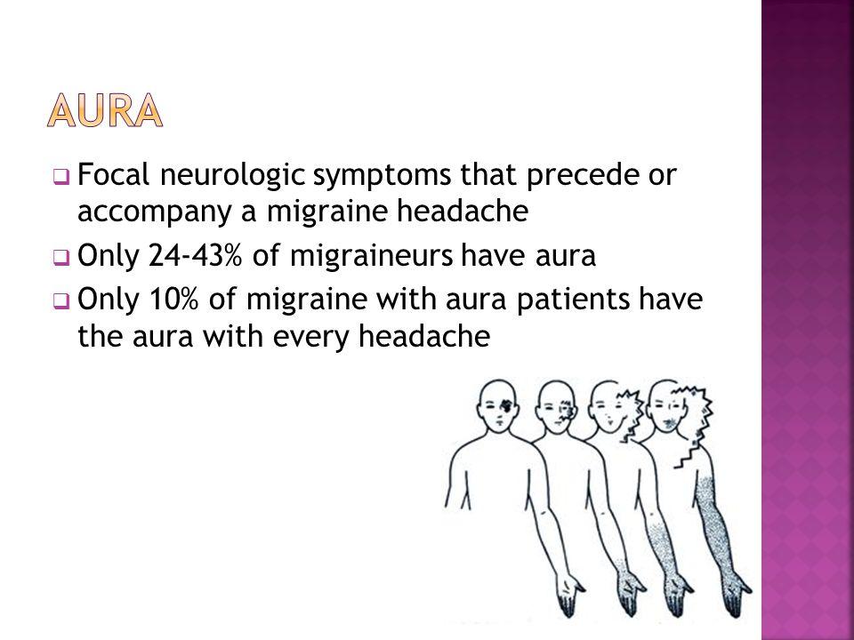  Focal neurologic symptoms that precede or accompany a migraine headache  Only 24-43% of migraineurs have aura  Only 10% of migraine with aura patients have the aura with every headache