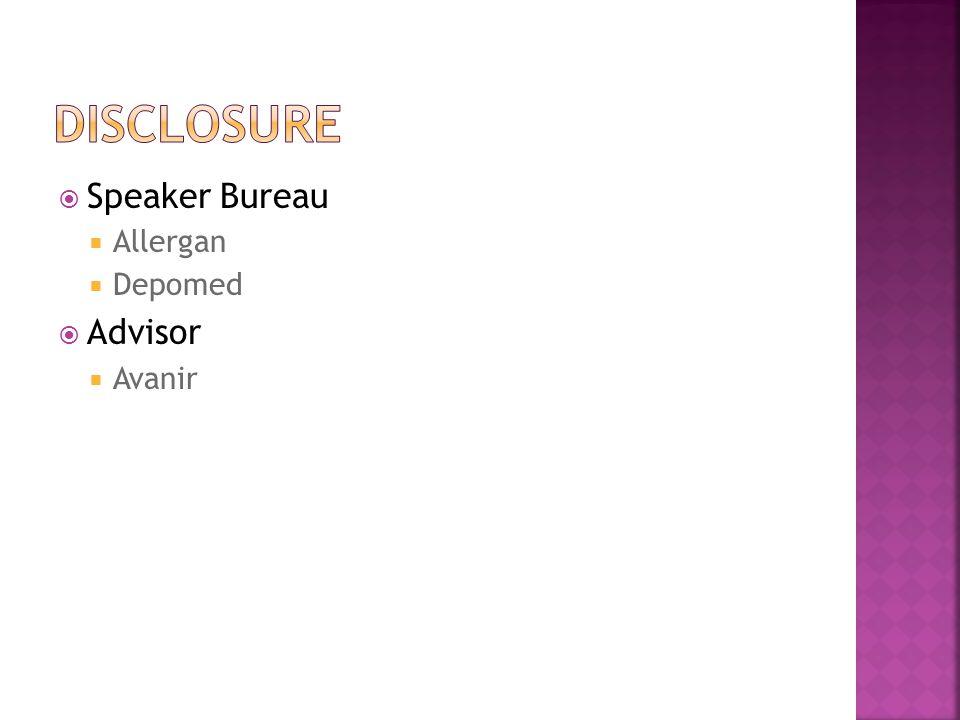  Speaker Bureau  Allergan  Depomed  Advisor  Avanir
