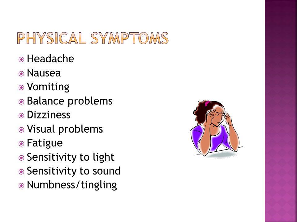 Headache  Nausea  Vomiting  Balance problems  Dizziness  Visual problems  Fatigue  Sensitivity to light  Sensitivity to sound  Numbness/tingling