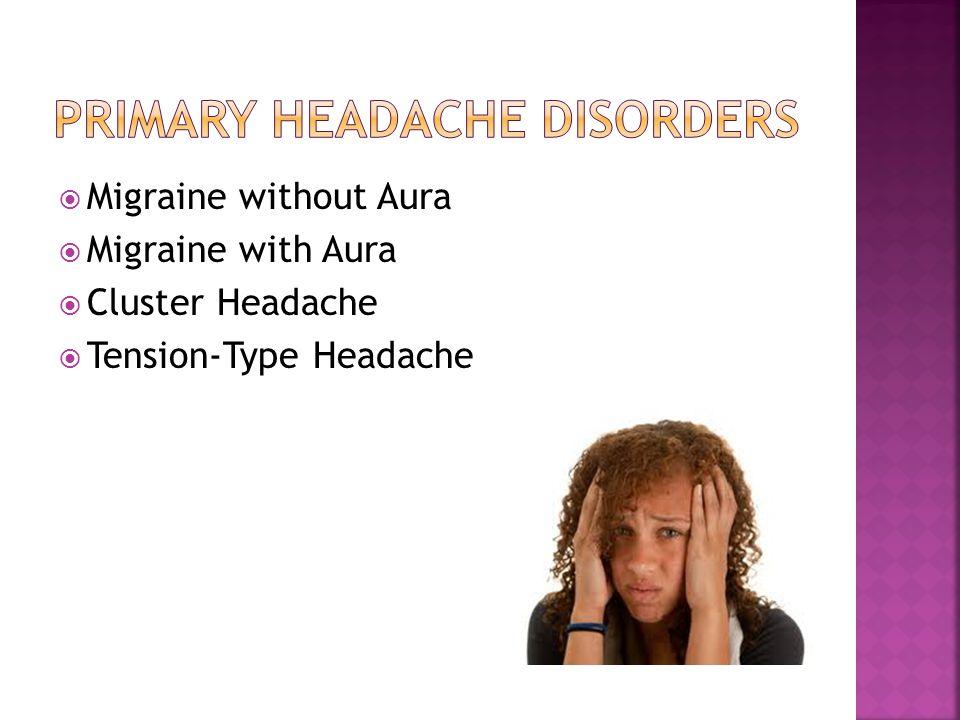  Migraine without Aura  Migraine with Aura  Cluster Headache  Tension-Type Headache