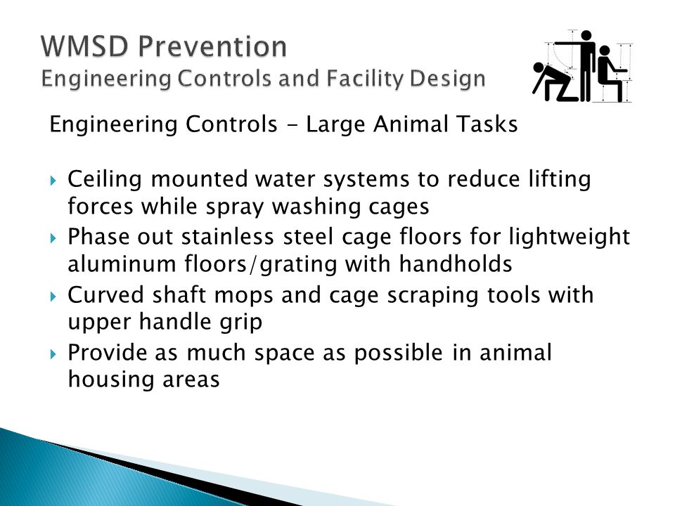 Engineering Controls - Large Animal Tasks  Ceiling mounted water systems to reduce lifting forces while spray washing cages  Phase out stainless steel cage floors for lightweight aluminum floors/grating with handholds  Curved shaft mops and cage scraping tools with upper handle grip  Provide as much space as possible in animal housing areas