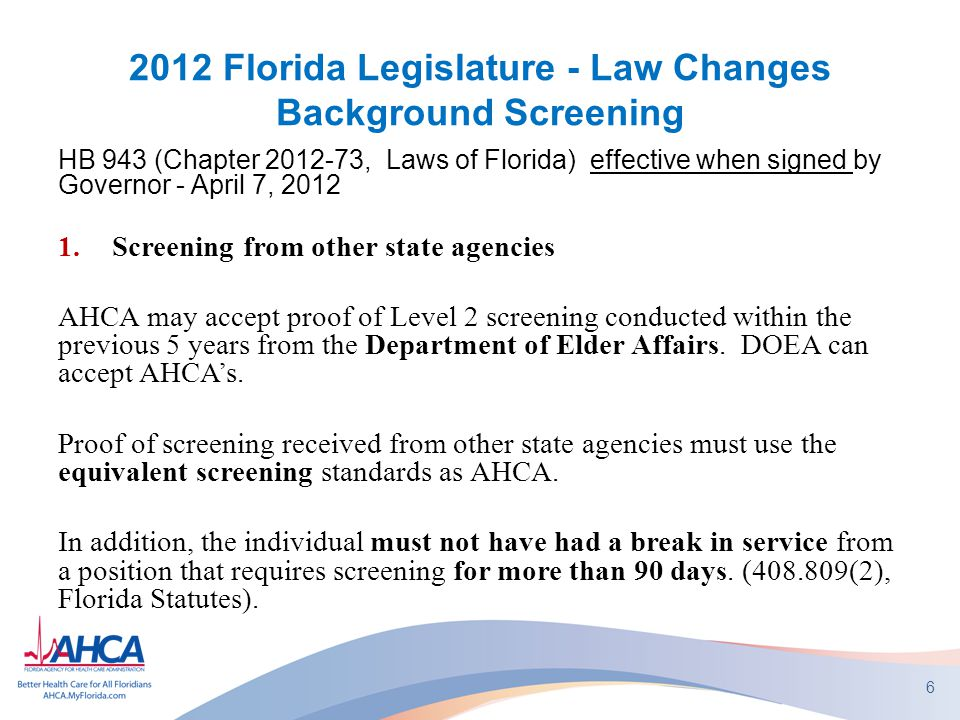 2012 Law Changes Chapter 408, Part II, Fla Statutes 2.A late application fee* will be included in the omissions letter.