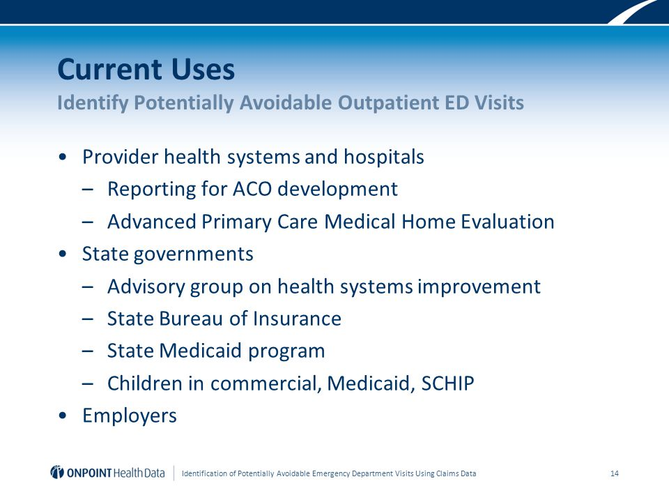 Current Uses Identify Potentially Avoidable Outpatient ED Visits Provider health systems and hospitals –Reporting for ACO development –Advanced Primary Care Medical Home Evaluation State governments –Advisory group on health systems improvement –State Bureau of Insurance –State Medicaid program –Children in commercial, Medicaid, SCHIP Employers Identification of Potentially Avoidable Emergency Department Visits Using Claims Data 14