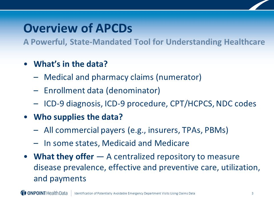 Overview of APCDs A Powerful, State-Mandated Tool for Understanding Healthcare What's in the data.