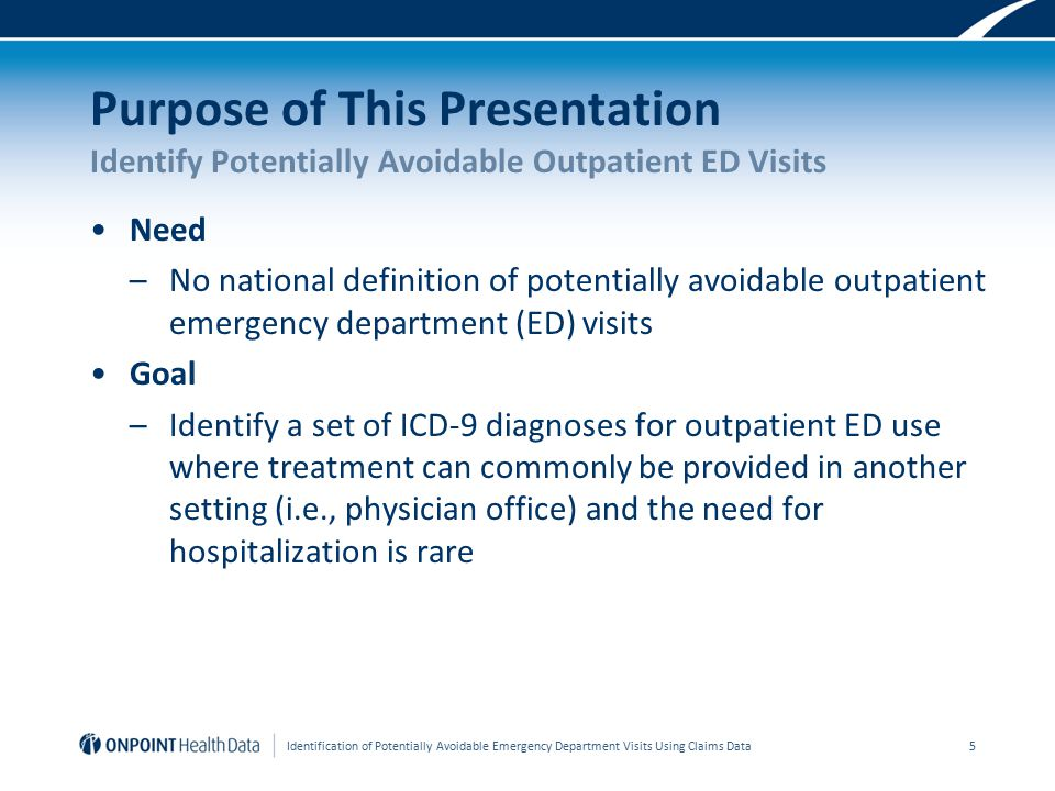 Purpose of This Presentation Identify Potentially Avoidable Outpatient ED Visits Need –No national definition of potentially avoidable outpatient emergency department (ED) visits Goal –Identify a set of ICD-9 diagnoses for outpatient ED use where treatment can commonly be provided in another setting (i.e., physician office) and the need for hospitalization is rare Identification of Potentially Avoidable Emergency Department Visits Using Claims Data 5