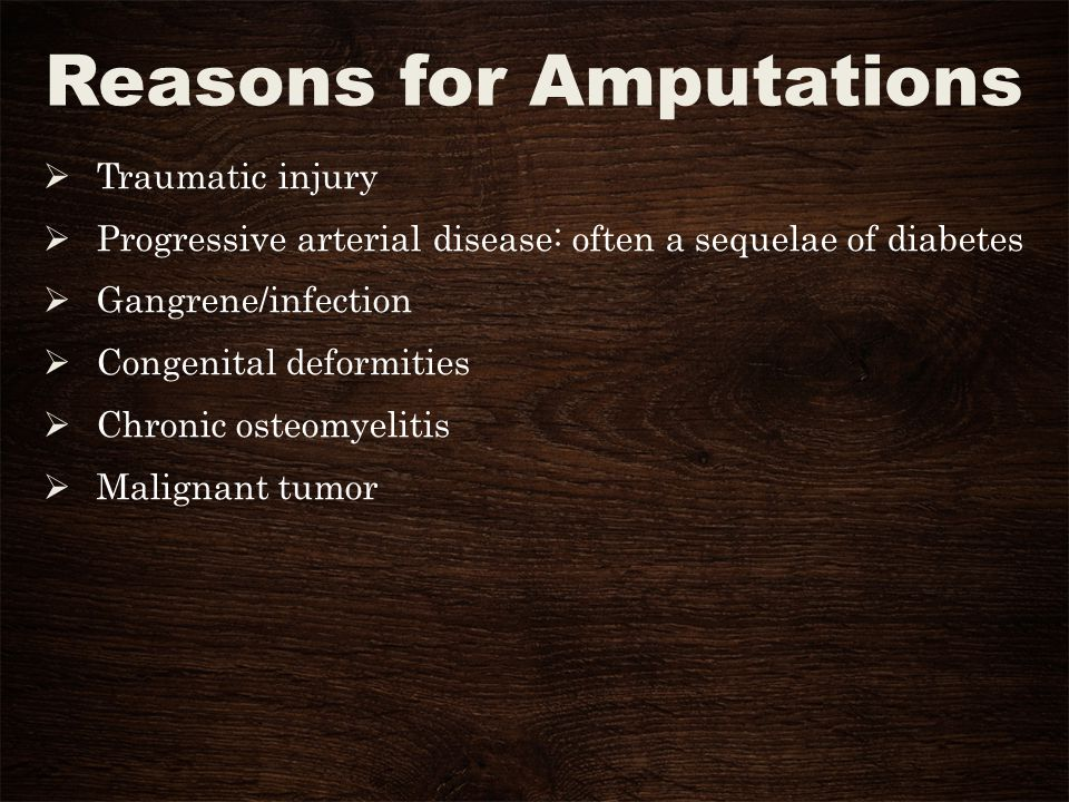 Traumatic Injury Or partial laceration requiring surgical amputation Can be complete amputation from an accident