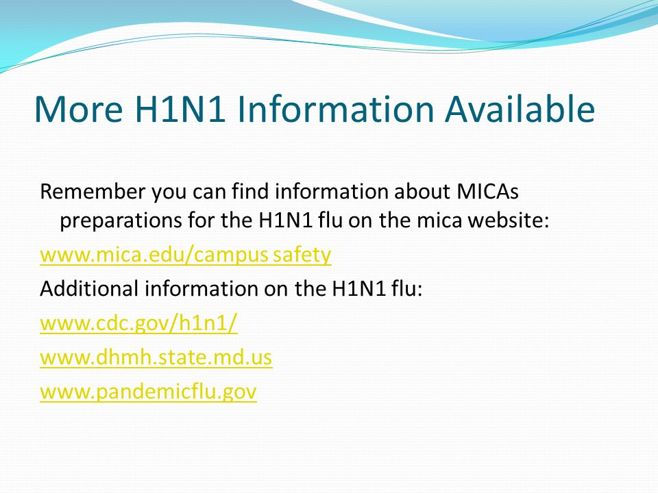 More H1N1 Information Available Remember you can find information about MICAs preparations for the H1N1 flu on the mica website: www.mica.edu/campus safety Additional information on the H1N1 flu: www.cdc.gov/h1n1/ www.dhmh.state.md.us www.pandemicflu.gov