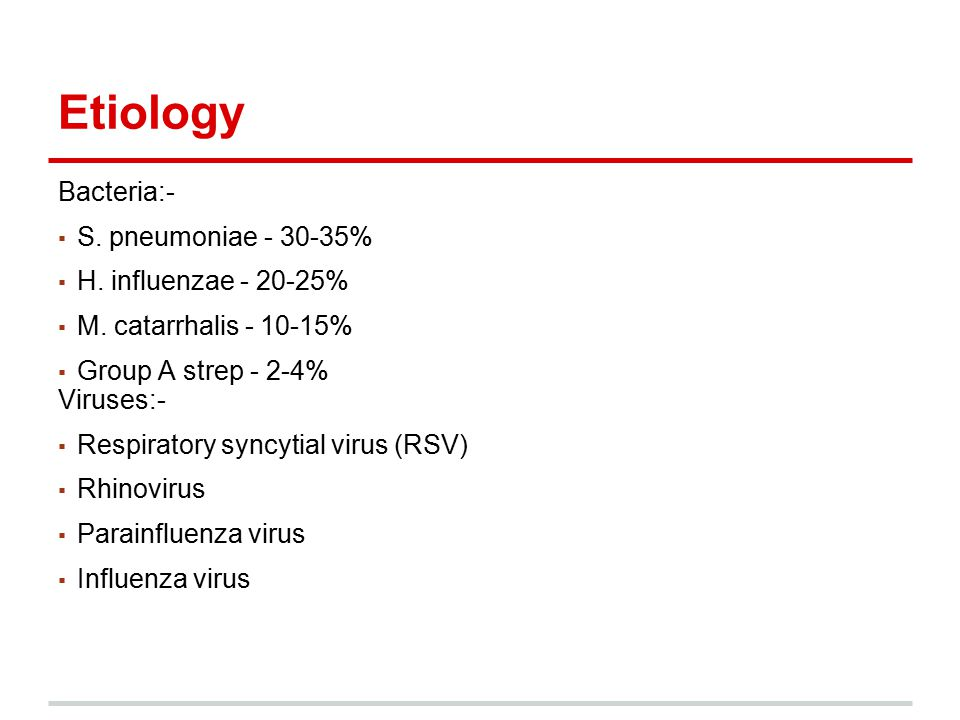 Etiology Bacteria:- ▪ S. pneumoniae - 30-35% ▪ H. influenzae - 20-25% ▪ M. catarrhalis - 10-15% ▪ Group A strep - 2-4% Viruses:- ▪ Respiratory syncyti