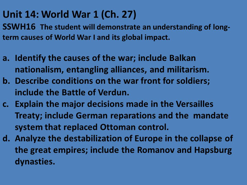 Unit 14: World War 1 (Ch.