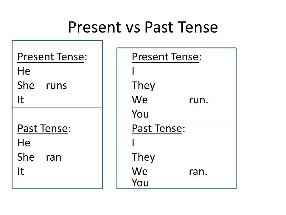 Present vs Past Tense Present Tense:Present Tense: HeI SherunsThey ItWerun.