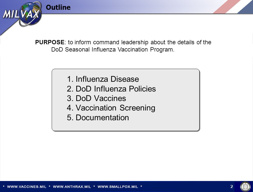 2 Outline 1. Influenza Disease 2. DoD Influenza Policies 3.