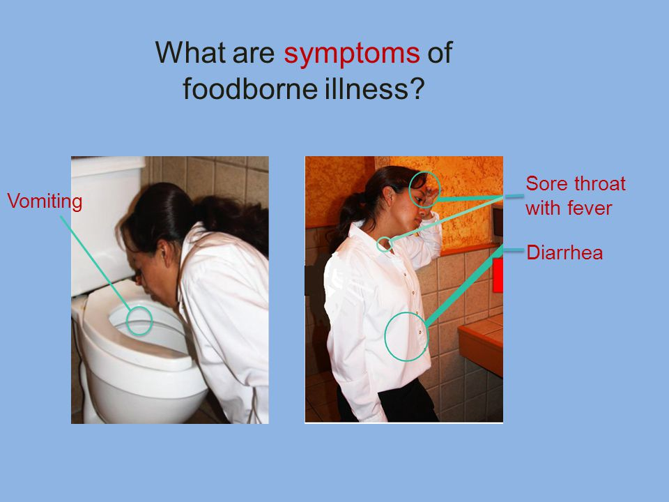 What are symptoms of foodborne illness Vomiting Sore throat with fever Diarrhea