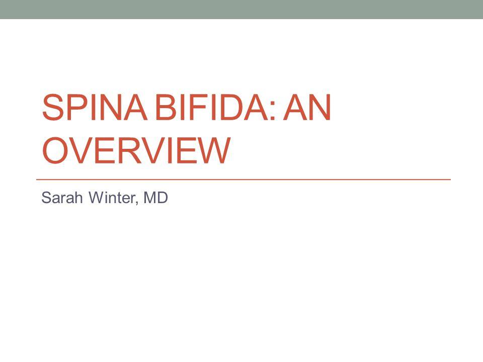 SPINA BIFIDA: AN OVERVIEW Sarah Winter, MD