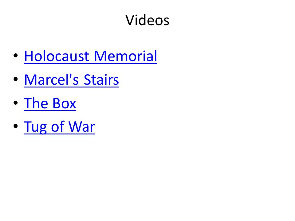 Videos Holocaust Memorial Marcel's Stairs The Box Tug of War