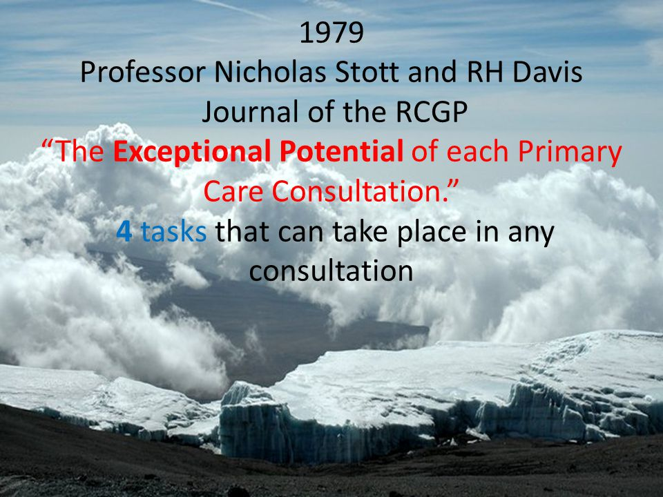 """1979 Professor Nicholas Stott and RH Davis Journal of the RCGP """"The Exceptional Potential of each Primary Care Consultation."""" 4 tasks that can take pl"""