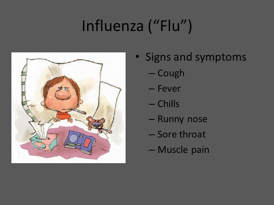 "Influenza (""Flu"") Signs and symptoms – Cough – Fever – Chills – Runny nose – Sore throat – Muscle pain"