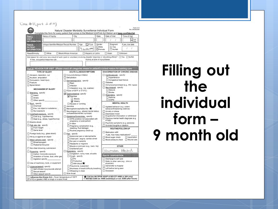 Filling out the individual form – 9 month old
