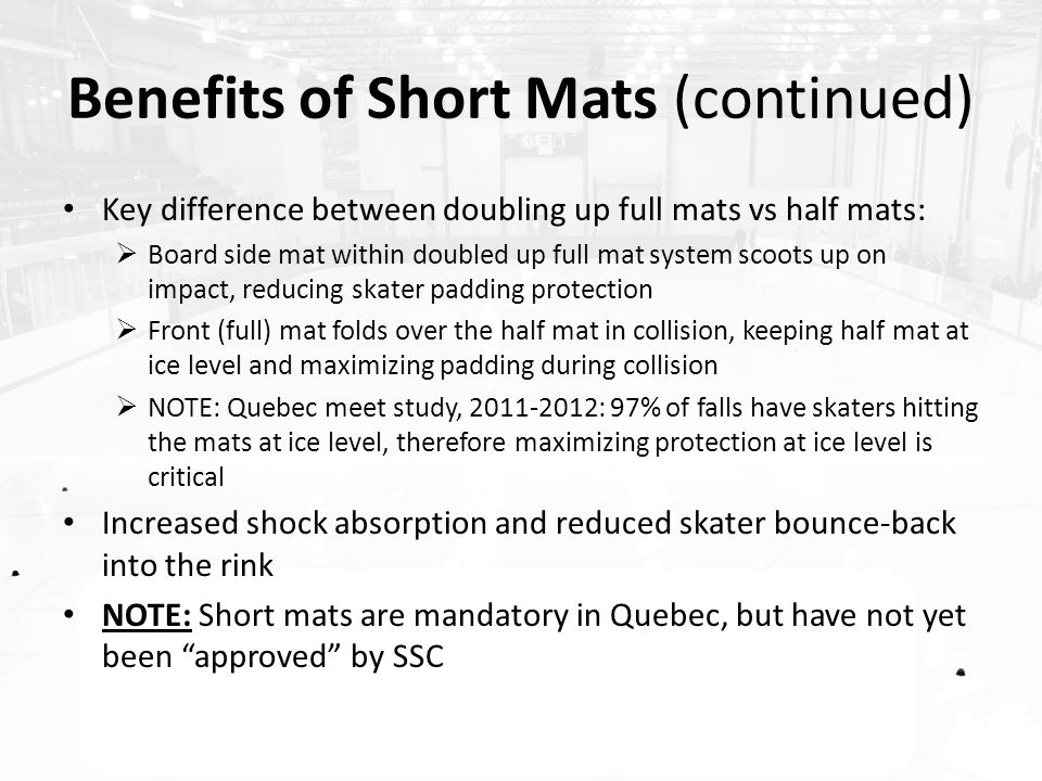 Benefits of Short Mats (continued) Key difference between doubling up full mats vs half mats:  Board side mat within doubled up full mat system scoots up on impact, reducing skater padding protection  Front (full) mat folds over the half mat in collision, keeping half mat at ice level and maximizing padding during collision  NOTE: Quebec meet study, 2011-2012: 97% of falls have skaters hitting the mats at ice level, therefore maximizing protection at ice level is critical Increased shock absorption and reduced skater bounce-back into the rink NOTE: Short mats are mandatory in Quebec, but have not yet been approved by SSC