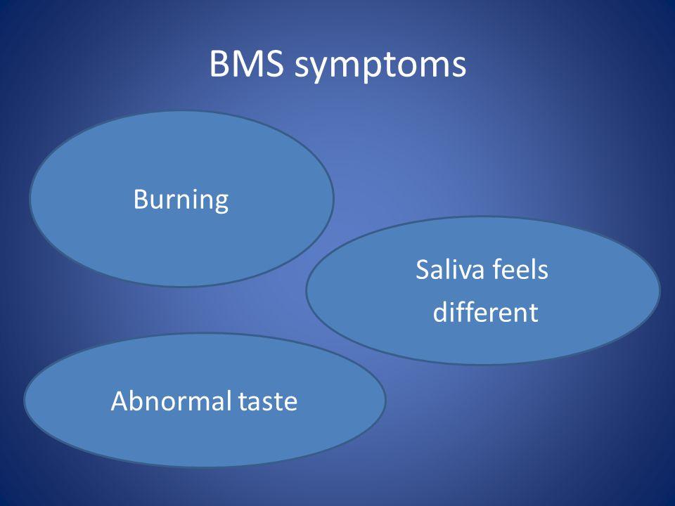 BMS symptoms Burning Saliva feels different Abnormal taste