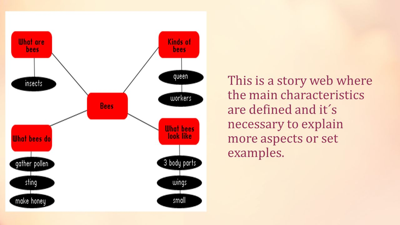 This is a story web where the main characteristics are defined and it´s necessary to explain more aspects or set examples.