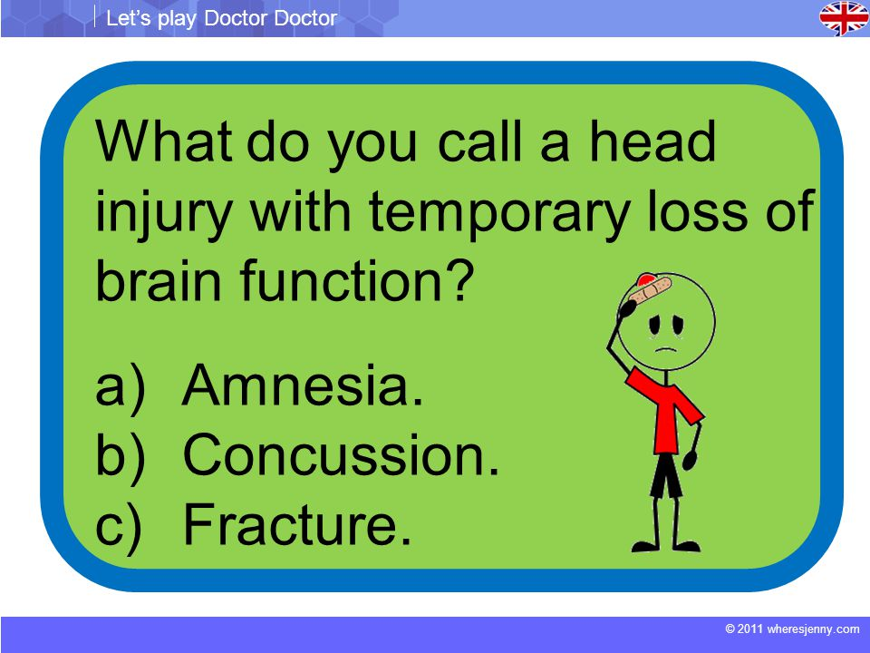 © 2011 wheresjenny.com Let's play Doctor Doctor What do you call a head injury with temporary loss of brain function.