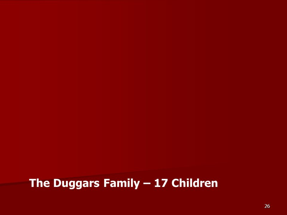 26 The Duggars Family – 17 Children
