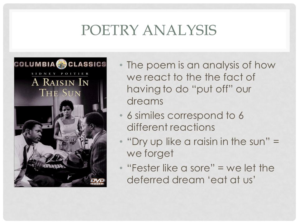 POETRY ANALYSIS The poem is an analysis of how we react to the the fact of having to do put off our dreams 6 similes correspond to 6 different reactions Dry up like a raisin in the sun = we forget Fester like a sore = we let the deferred dream 'eat at us'