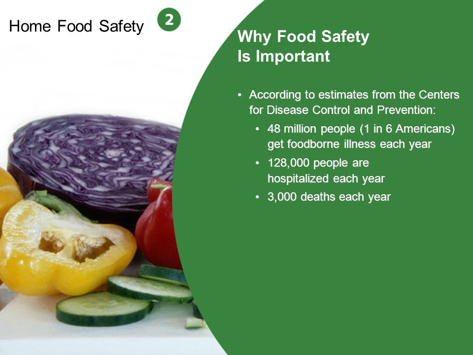2 Home Food Safety Why Food Safety Is Important According to estimates from the Centers for Disease Control and Prevention: 48 million people (1 in 6