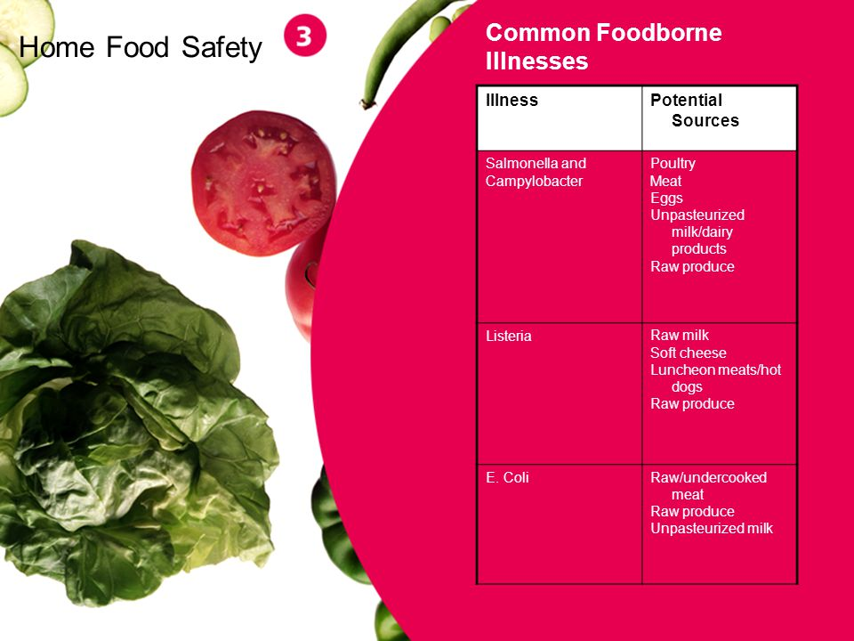 4 Home Food Safety Common Foodborne Illnesses IllnessPotential Sources Salmonella and Campylobacter Poultry Meat Eggs Unpasteurized milk/dairy product