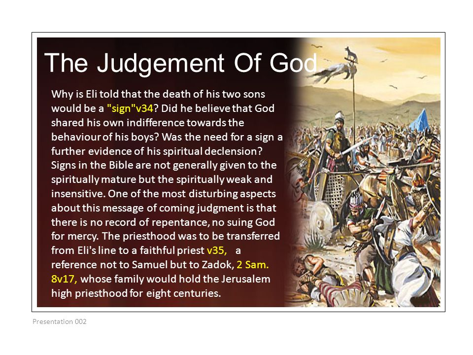 The Judgement Of God Presentation 002 Why is Eli told that the death of his two sons would be a