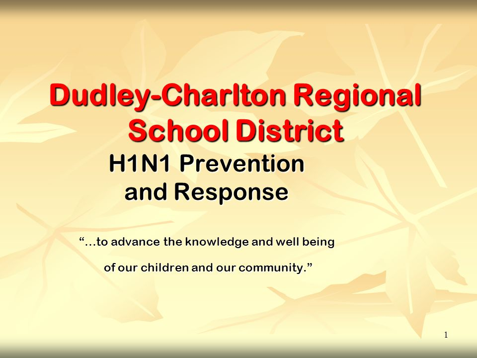 1 Dudley-Charlton Regional School District H1N1 Prevention and Response …to advance the knowledge and well being of our children and our community. of our children and our community.