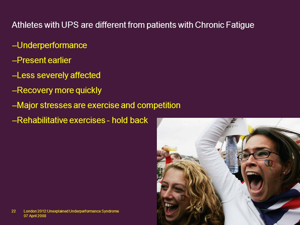 London 2012:Unexplained Underperformance Syndrome 07 April 2008 22 Athletes with UPS are different from patients with Chronic Fatigue –Underperformance –Present earlier –Less severely affected –Recovery more quickly –Major stresses are exercise and competition –Rehabilitative exercises - hold back