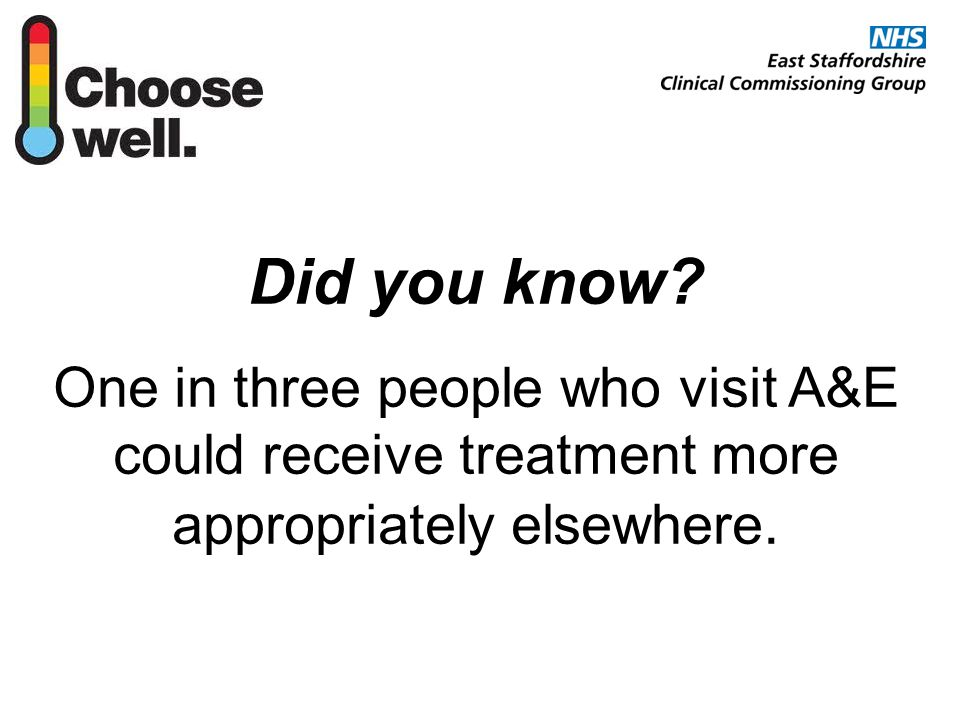 Did you know? One in three people who visit A&E could receive treatment more appropriately elsewhere.