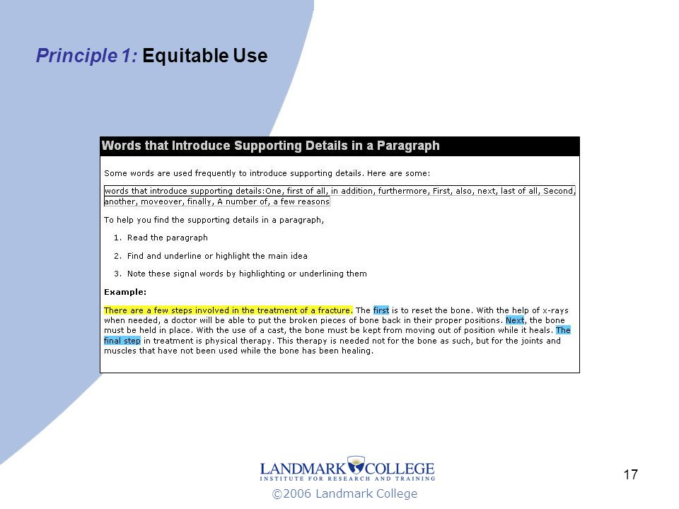 ©2006 Landmark College 17 Principle 1: Equitable Use